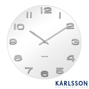 Vintage Round Glass Wall Clock - White