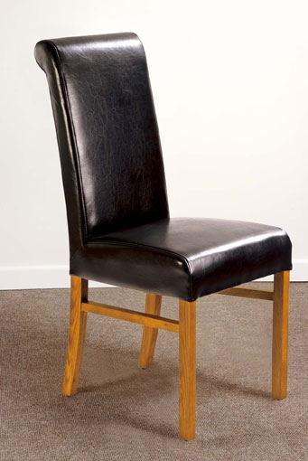 Paris Dark Brown Leather Dining Chairs - Pair