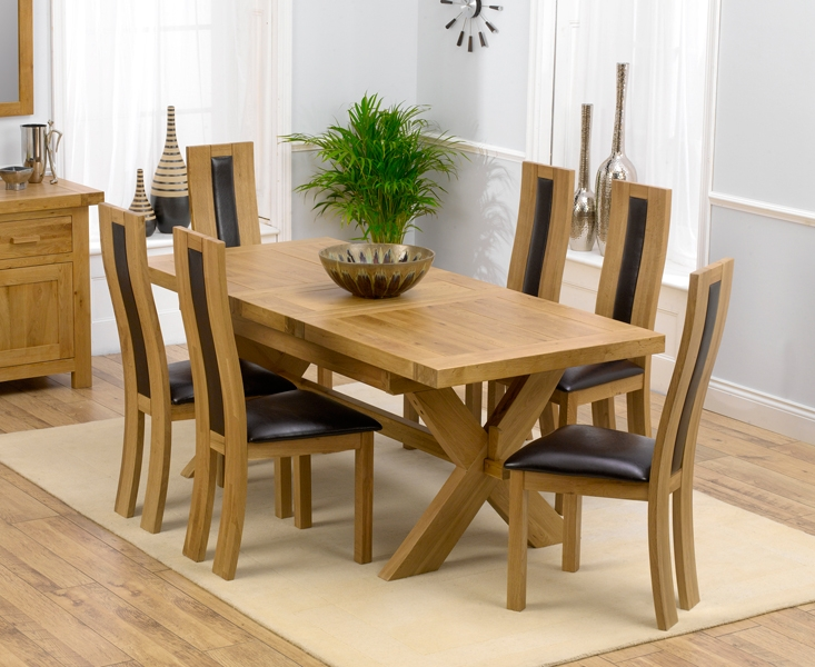 bellano solid oak extending dining table 160 200cm 6 santander leather chairs - Solid Oak Extending Dining Table And 6 Chairs