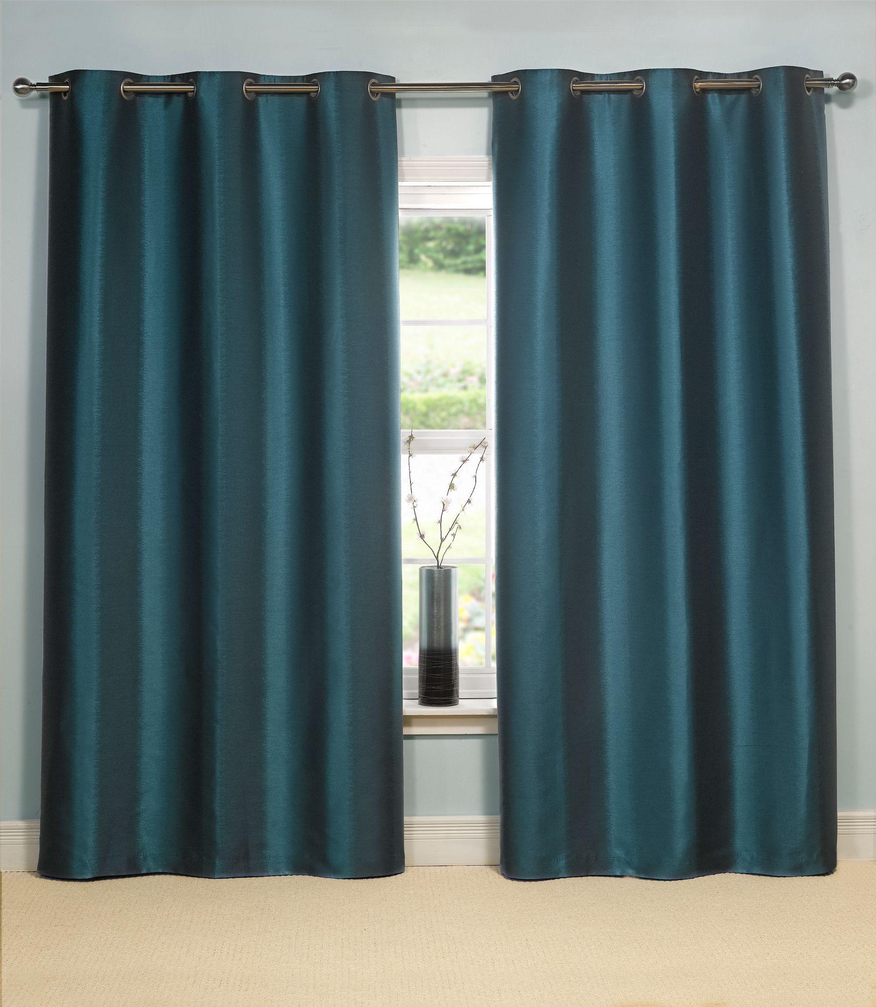Linea ikat stripe dark teal curtains 164x183cm