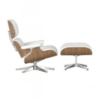 Vitra Lounge Chair & Footstool White by Charles & Ray Eames
