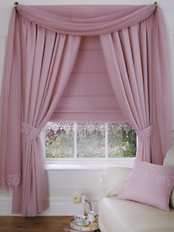 Wisteria Lined Voile Curtains (buy one get one FREE), Ivory