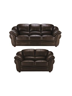 Napoli 3seater 2seater Leather Sofa Set (buy and SAVE!), Black