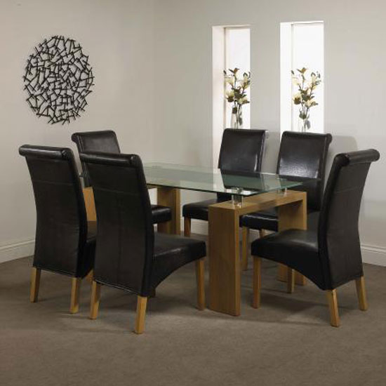 Dynasty Glass Top Dining Table 6 Chocolate Brown Chairs