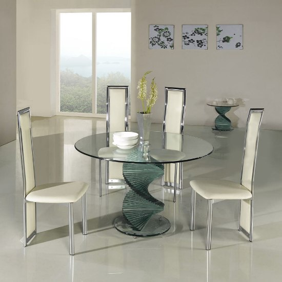 Small Dining Table Set For 4, Twirl Clear Glass Dining Table 4 G601 D231 Dining Chairs