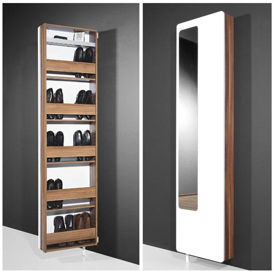 White Hi Gloss Rotating Shoe Storage With Mirror, 1186 94