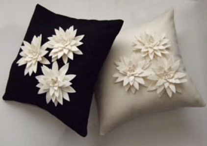 Lily Cushion Black with Cream Flowers