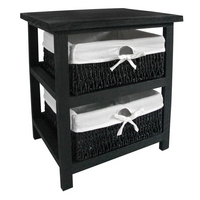 Storage Unit Black Wood with 2 Maize Baskets