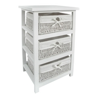 Storage Unit White Wood with 3 Maize Baskets