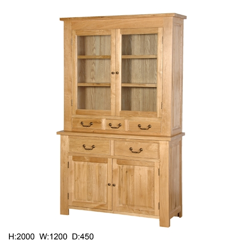 Coach House Quebec Oak Glazed Bookcase with Cupboard