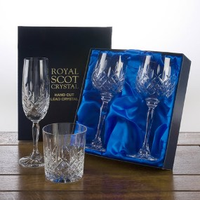 London Stemware Whiskey Set 1 Square Spirit Decanter and 2 Whiskey Tumblers