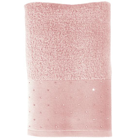 Swarovski Crystal Scatter Towels, Salmon Hand Towel 50/100