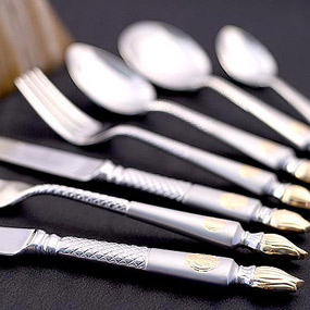 Empire Flame 18/10 Stainless Steel Cutlery Cutlery Set 125 Piece Dinner Service (For 12 People)