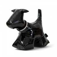 Wish. Original - Patent Leather Dog Doorstop with Crystal Stud Collar - Black