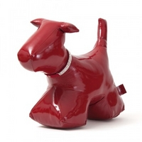 Wish. Original - Patent Leather Dog Doorstop with Crystal Stud Collar - Red