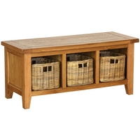 Vancouver Oak Petite Storage Bench with Baskets